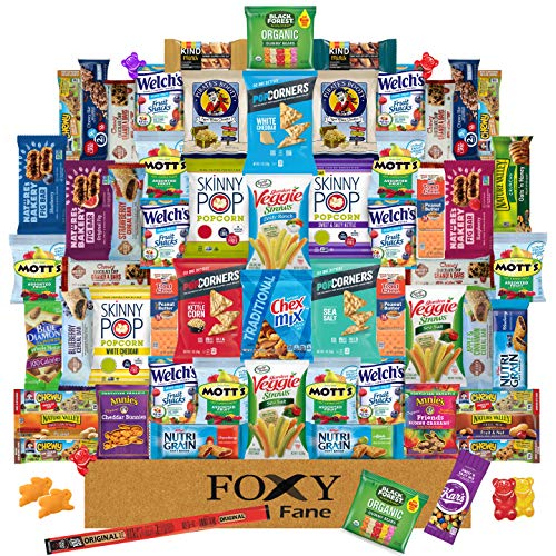 Foxy Fane 60 count Premium Healthy Care Package - Ultimate Gift Snack Box with Variety Assortment of Chips, Nuts, Crackers, Bars, Popcorn, Cookies & more - Bulk Bundle of Delicious Treats (60 Snacks)