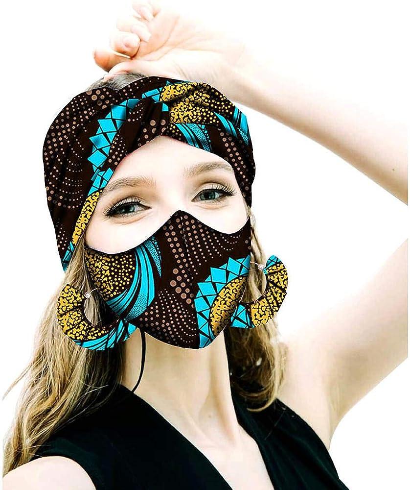 African Head Wraps Earrings Head Scarf Fashion Ankara Print Cotton Bonnet Hair Reversible Match Print Mask Headscarfs 347X