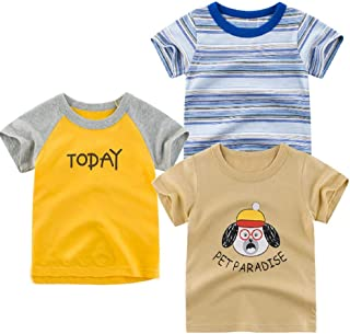 MODNTOGA Toddler Little Boys Clothes 3-Pack Dinosaur Short Sleeve Crewneck T-Shirts Top Tee Size 2-7 Years