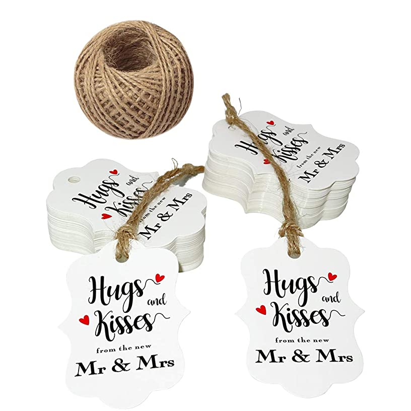Original Design 100 PCS Wedding Gift Tags,Hugs and Kisses from The New Mr & Mrs Kraft Paper Tags,2.8