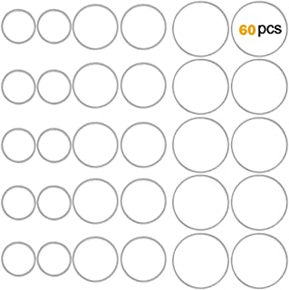 OBSEDE Hollow Stainless Steel Charms Pendants Circle Shape Frame Jewelry Findings Bezels for DIY Crafts Earring Necklace Making 60pcs