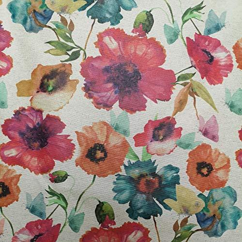 Staab's Beschichtete Baumwolle Bunte Blumen Wasserfarb-Optik (Meterware, Qualität Zum Nähen) (100 x 140 cm)