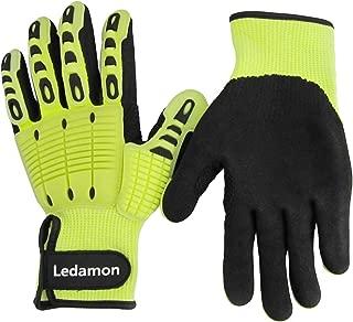 Ledamon Anti-Vibration Impact Resistant Cut Resistant Wear Resistant Mechanic Work Gloves Professional-Grade Protection & Durability (Large)