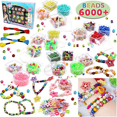 Beads Set 6000 Pieces DIY Beads Kit; 28 Different Types & 4 Color Strings for Jewelry Necklace Making, Friendship Bracelet Making and Valentines Day Children Arts & Crafts Beads by JOYIN