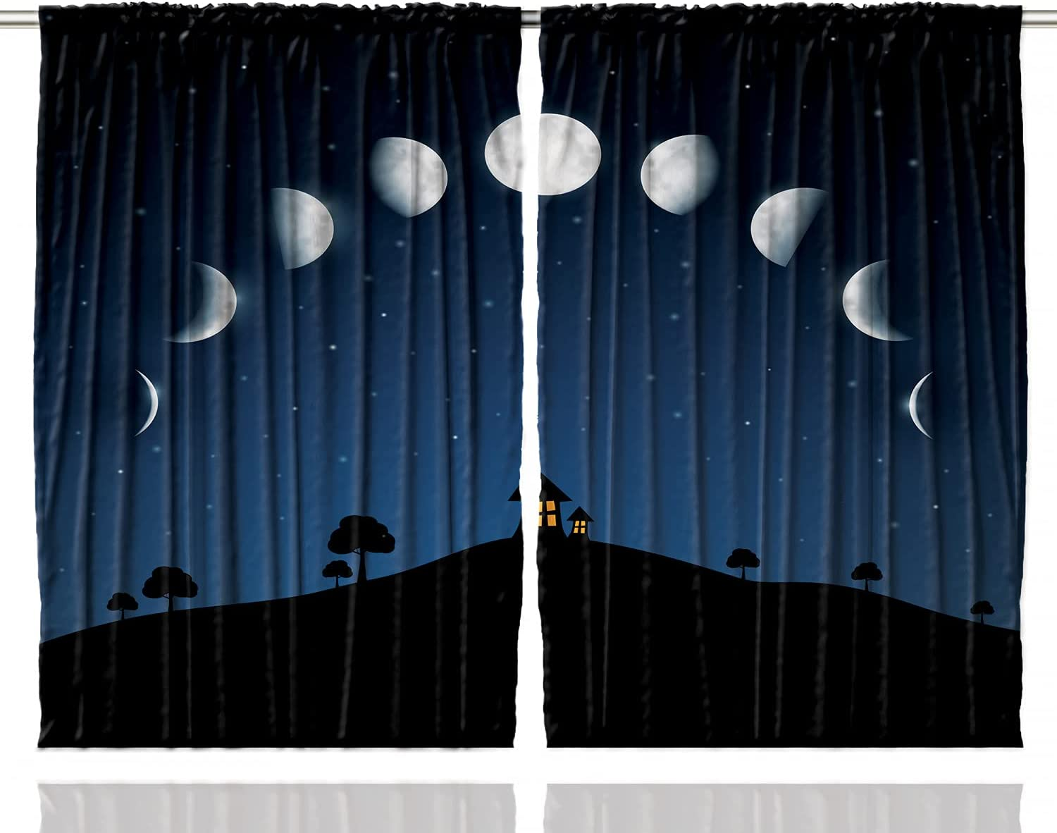 Ambesonne Moon All items free shipping Curtains Lunar Phases Little Time sale Stars and Hi Houses