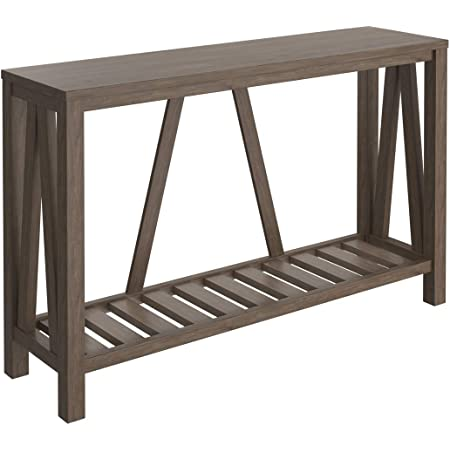 Amazon Com Simplihome Sawhorse Solid Wood 50 Inch Wide Modern Industrial Console Sofa Entryway Table In Medium Saddle Brown For The Living Room Entryway And Bedroom Furniture Decor
