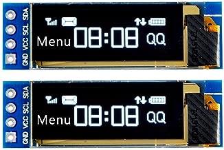 WINGONEER 2Pcs I2C OLED Display Module 0.91 Inch I2C SSD1306 OLED Display Module I2C OLED Screen Driver DC 3.3V~5V for Arduino - White Font