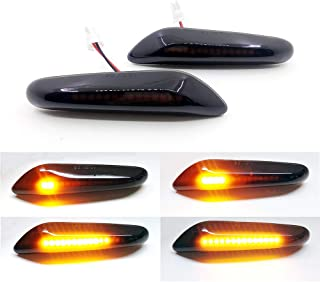 Xinctai 2PCS Smoke Lens Dynamic Flowing Sequential LED Side Marker Light Turn Signal Lamp for BMW E60 E61 E90 E91 E92 E93 E81 E82 E88 E46 E83 E84 1/3/5/X3/X1 Series