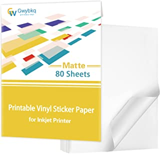 $22 » Premium Printable Vinyl Sticker Paper for Inkjet Printer,80 Sheets Matte White Waterproof Decal Paper, 8.5x11 inches ,Drie...