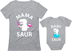 Mama Saur - T-Rex Mom & Baby Saur Matching Outfit Mommy & Me Matching Set