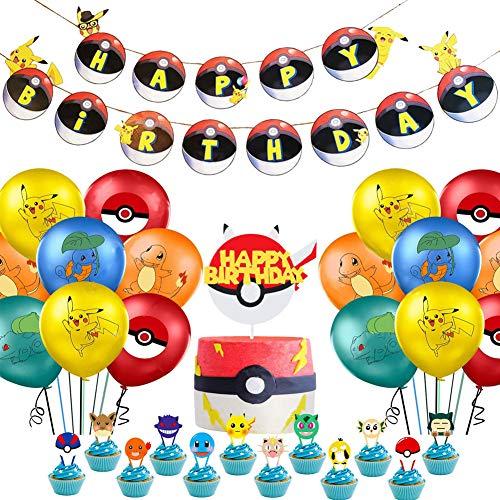 Globo Pokémon - WENTS 42 Piezas Pokemon Pikachu Globos de Fiesta Látex Balloons, Pikachu Happy Birthday Banner Cake Topper Suministros de Fiesta Cumpleaños de Pokemon