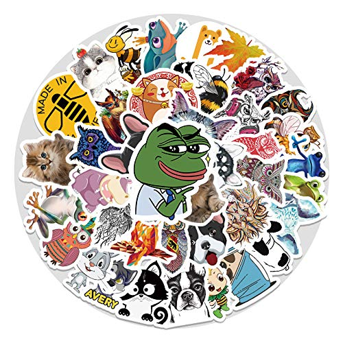 YZFCL Cute Animal Cartoon Doodle Sticker Laptop Suitcase Scooter Car Trim Sticker 52Pcs