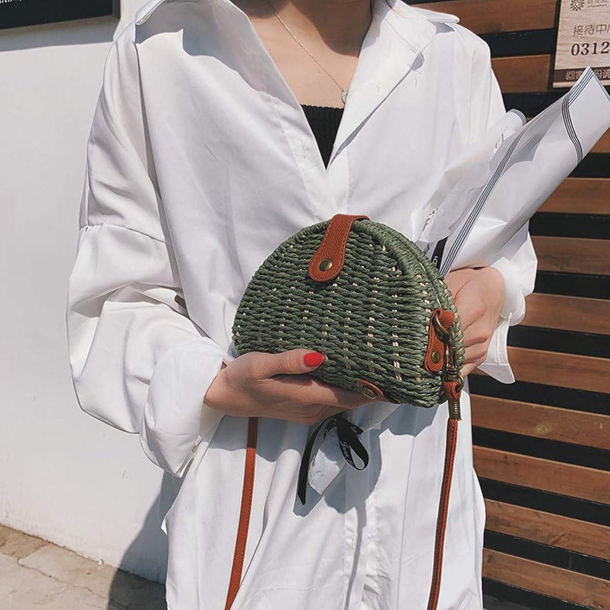 代わって容器メロドラマ女性ミニ織りビーチショルダーバッグレディースボヘミアンスタイルレジャーハンドバッグ、女性のミニ織クロスボディバッグ、レディースミニファッションビーチスタイルクロスボディバッグ (緑)