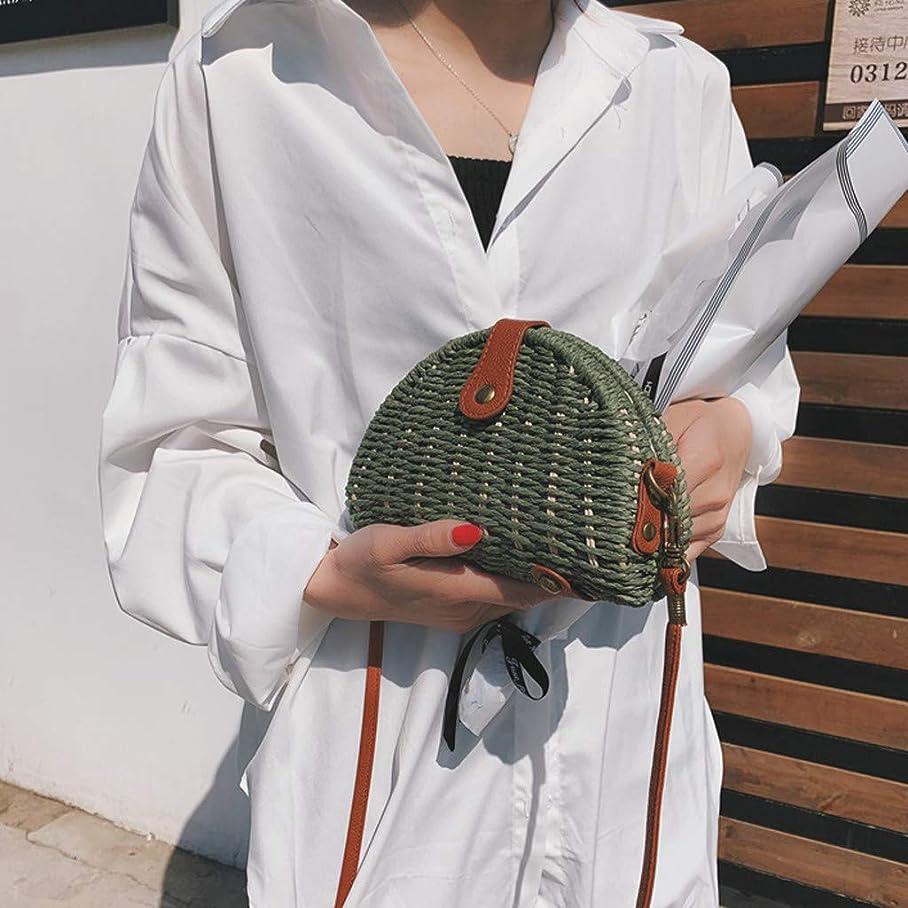 申請中ペフ考え女性ミニ織りビーチショルダーバッグレディースボヘミアンスタイルレジャーハンドバッグ、女性のミニ織クロスボディバッグ、レディースミニファッションビーチスタイルクロスボディバッグ (緑)