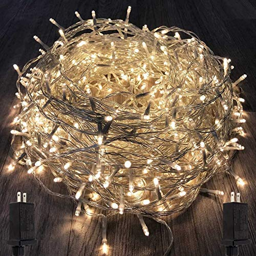 KAQ 2Pack Total 300LED Extendable String Lights Indoor/Outdoor, Super Bright Christmas Lights with 8 Modes, Waterproof Plug in Fairy Lights for Xmas Tree Garden Patio Wedding (Warm White)