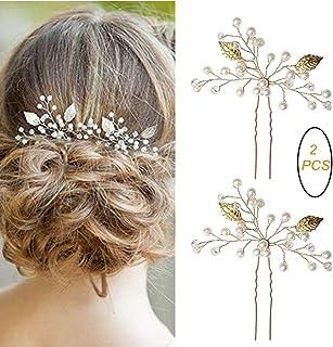 9a80231a1 SUMAJU 2 Pack of Bridal Hair Pins Set, Gold Elegant Wedding Handmade Leaf  and Pearl