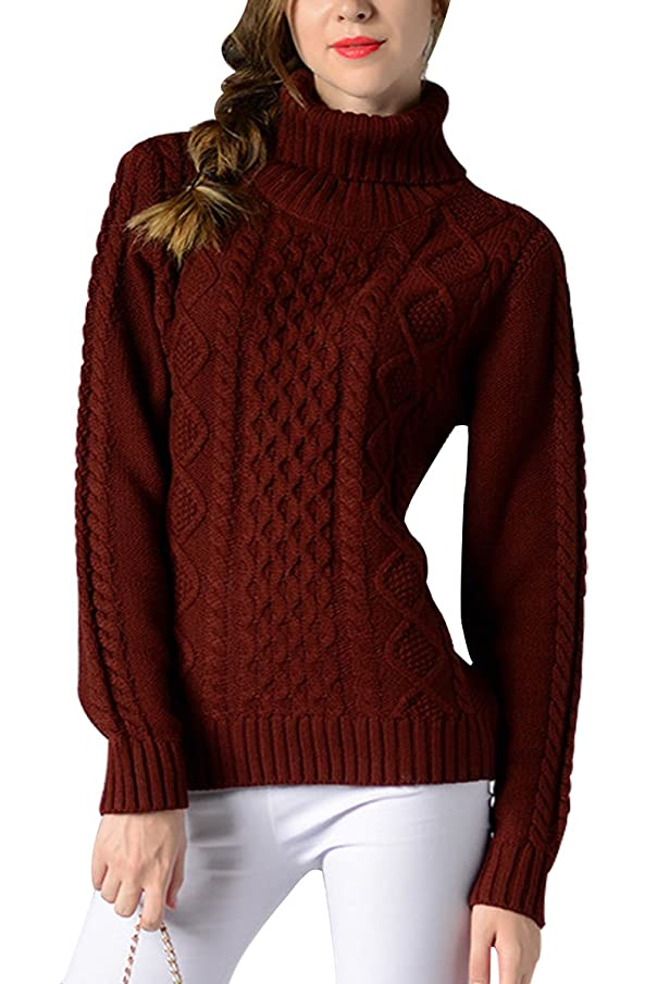 Sophieer Womens Sweaters Cable Knit Vintage Turtleneck Pullover Long Sleeve Jumper S-XXL