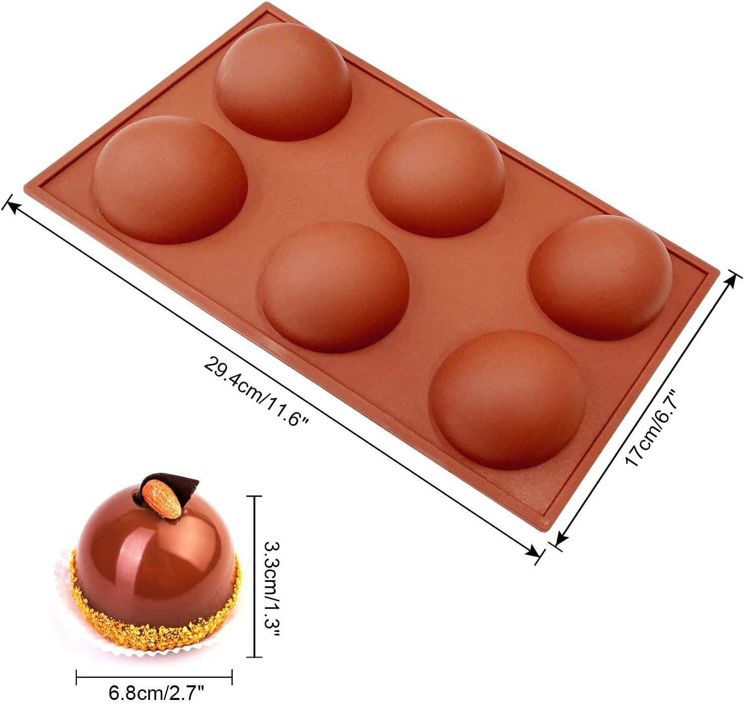 2 Packs 6 Holes Semi Sphere Silicone Mold Dome Mousse Jelly Coffee Large Baking Mold for Making Chocolate Cake