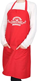 Beyond Your Thoughts Personalized Apron Embroidered Christmas Chef Any Name Design Add a Name for Women & Men with Pockets