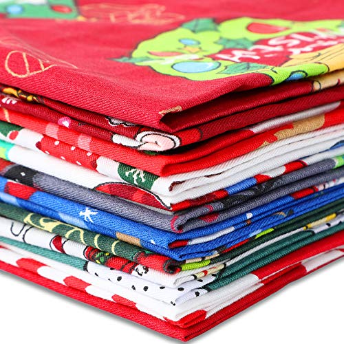 15 Pieces 10 x 10inch Christmas Fabric Cotton Fabric Fat Squares DIY Craft Fabric Bundle Quilting Fabric for Sewing Patchwork Christmas Presents Wrapper