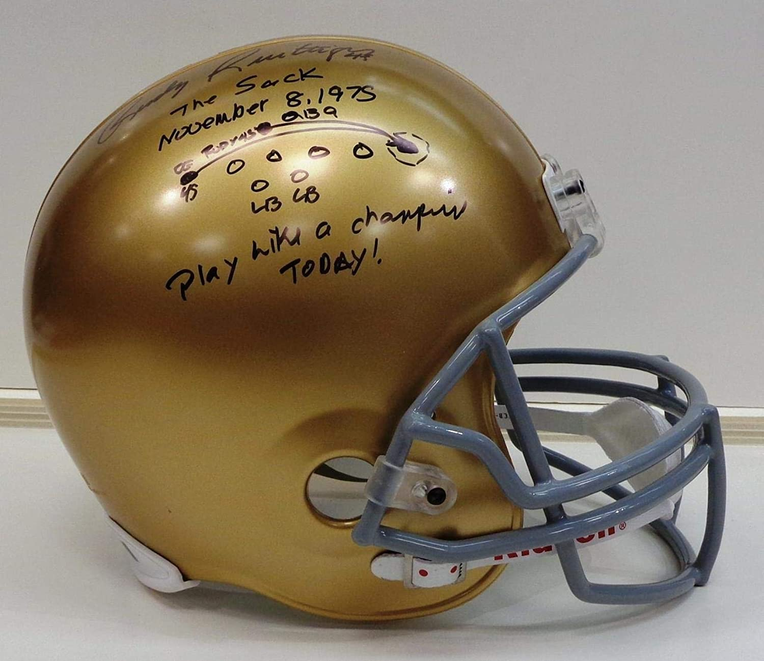 Rudy Ruettiger Autographed Riddell Replica Full Size Notre Dame Helmet w The Sack Inscription  Autographed College Helmets