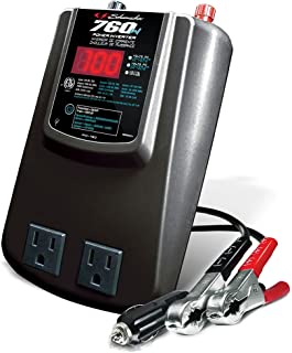 Schumacher DC to AC Digital Power Inverter for Cars - 760W - with 120V AC Outlets, USB Port - Gray