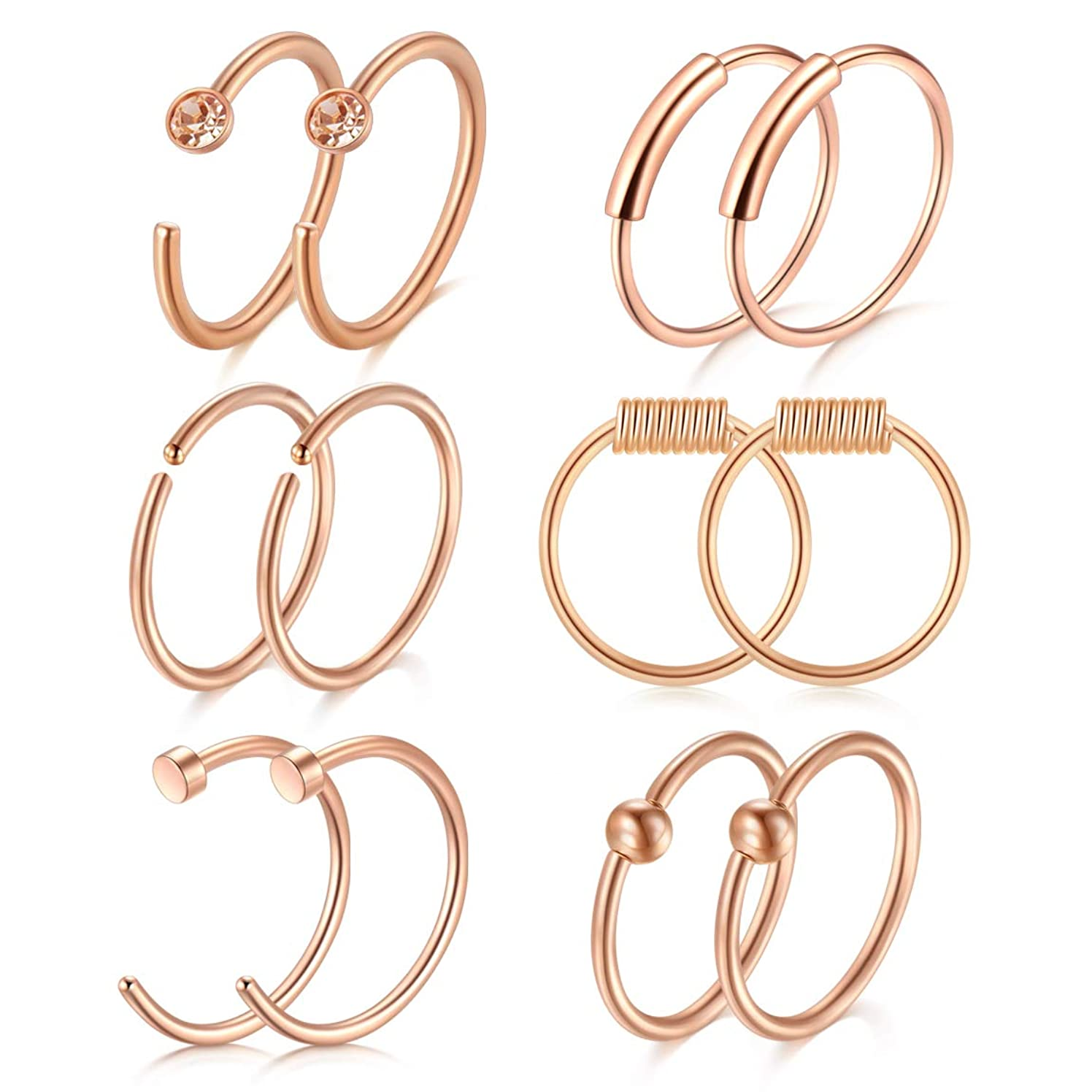 Briana Williams 22G 20G 18G Stainless Steel Nose Rings Hoop Tragus Cartilage Helix Ring Lip Septum Piercing Ring 8mm 10mm Silver Rose Gold Nose Hoop
