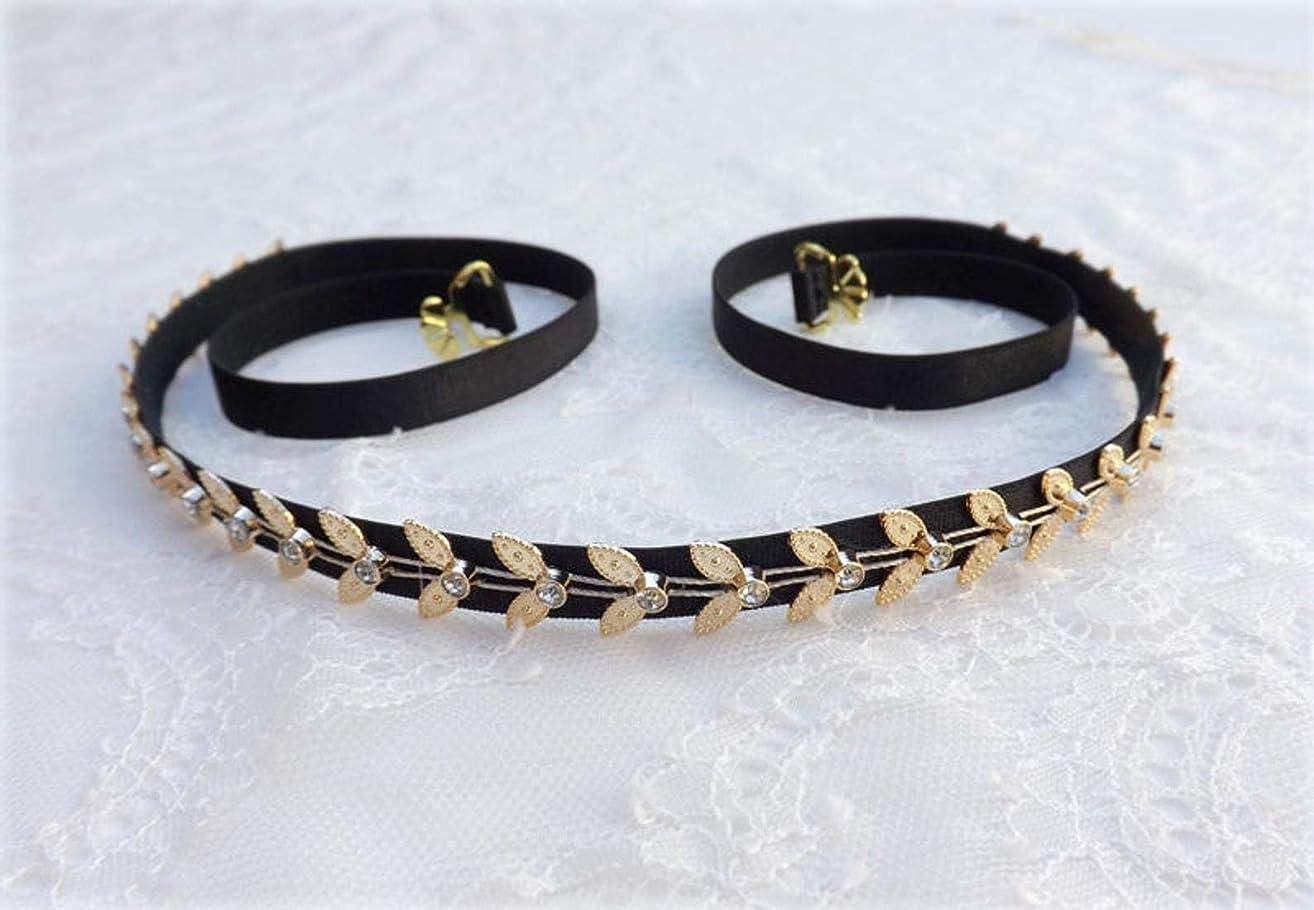 Black Elastic Gold Leaf Grecian Dress Belt
