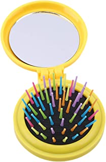 LALANG Mini Round Portable Folding Comb With Mirror For Girls Travel Accessories(yellow)
