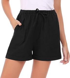 Hawiton Pantalones Cortos para Mujer Verano,pantalón Deporte de Algodon,elástica de Cintura Alta Short Pants con cordón y ...