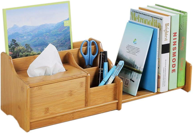 Creative Home Adjustable Telescopic Desktop Bamboo Bookshelf, Computer Desk Desk Bookshelf Shelf Storage Rack Storage Box (color   Wood color)