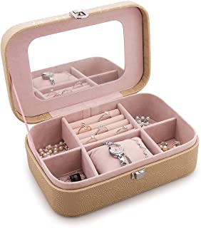 Jewellery Box, Faux Leather Jewellery Case and Display Case for Earrings Necklace Jewels Bracelets Organizer Jewelry Storage Box,Small Size (Color : Gold)