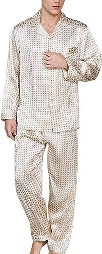 HUIFA Ensemble De Pyjama pour Hommes Chemise en Tissu 100% Soie Pantalon à Manches Longues, 2 VêteHommests Décontractés pour La Maison Doux et Confortable (Couleur   Photo Couleur, Taille   L)