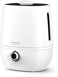 ASAKUKI Premium Cool Mist Humidifier, Large 4L Capacity Ultrasonic Diffuser Vaporizer, Whisper-Quiet Air Humidifier for Home,Office,Bedroom,Baby, Lasts Up to 20-60 Hours