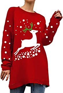 Women's Plus Size Christmas Ugly Sweater Autumn Winter Casual Loose Baggy Xmas Elk Knit Pullover Shirt Blouse Top