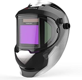 YESWELDER Large Viewing True Color Solar Powered Auto Darkening Silver Welding Helmet..
