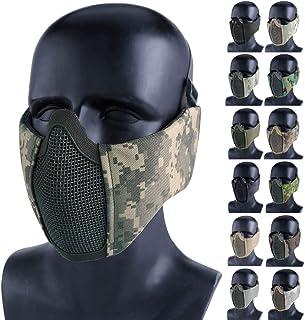 Aoutacc エアソフト 折りたたみ式 メッシュマスク ナイロン タクティカル ハーフフェイス メッシュ マスク 耳カバー 保護 CS 保護 下部ガード マスク CSハンティング ペイントボール シューティング用