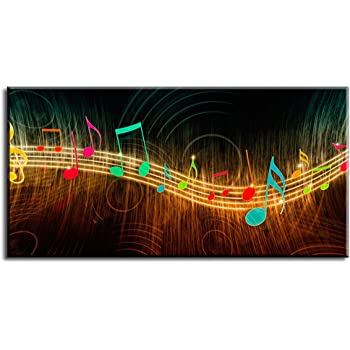 "Music Wall Art for Bedroom, PIY Modern Musical Note Canvas Prints Stretched with Frame, Beautiful Notes Beating on Staff Picture Decor (1"" Thick Artwork, Waterproof, Bracket Mounted Ready to Hang)"