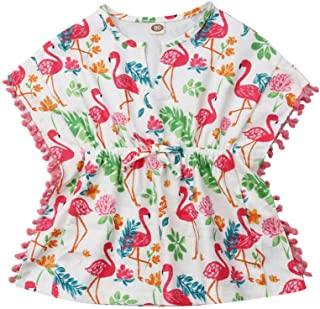 Toddler Baby Girls Cotton Linen Beach Dress Swimsuit Cover-up with Pompom Tassel Poncho Summer Clothes