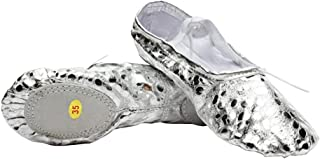 ESupport Gymnastic Dancing Yoga Sequins PU Ballet Dance Shoes for Womens Ladies Girls Kids