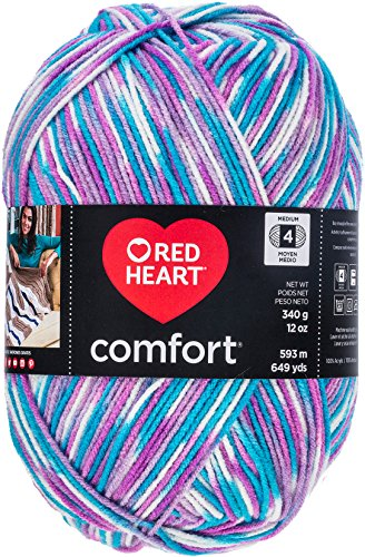 Red Heart Comfort Yarn, White Turq Violet