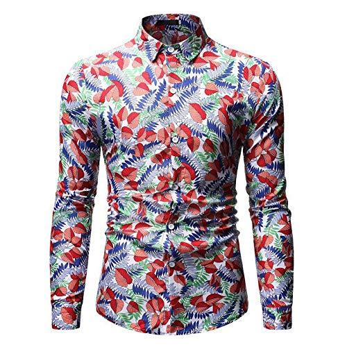 Herren Shirts Bedruckte Shirts Herren Männer Casual Langarmshirt Gr. M, Ml68 Rot