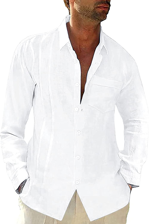 HGOOGY Men's Long Sleeve Shirt Casual Solid Button Turn Down Blouse Autumn Cotton Linen Pocket Regular Loose Fit Tops