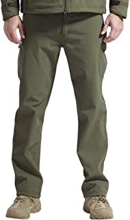 FREE SOLDIER Men's Outdoor Softshell Fleece Lined Cargo Pants Breathable Waterproof..