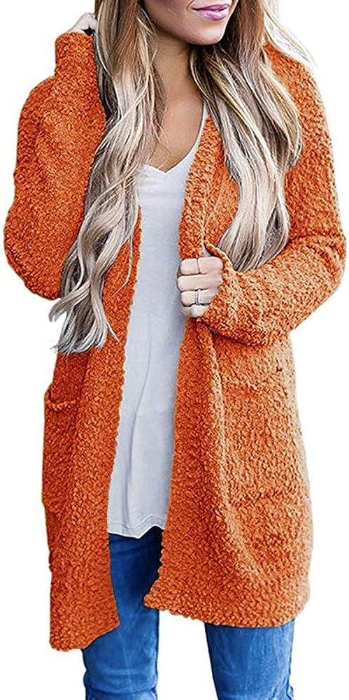 Avilego Women's Fuzzy Popcorn Batwing Sleeve Cardigan Oversized Knit Sweater Pockets Coat