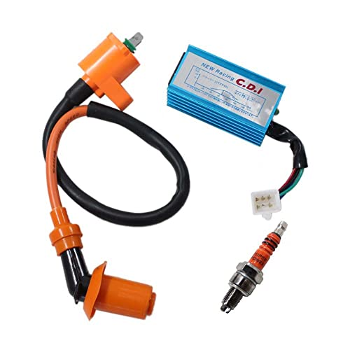 poweka new pack of racing ignition coil, 5 pins cdi box , 3 electrode spark