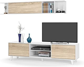 Habitdesign 0F6634BO - Mueble de salón Comedor módulo TV + Estante Color Blanco Brillo y Roble Canadian Medidas: 180x54...