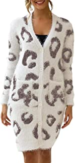 Womens Casual Long Sleeve Leopard Open Front Chunky Knit Sweater Cardigan Outerwear