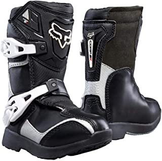 Fox Racing Pee Wee Comp 5K Youth Boys Off-Road/Dirt Bike Motorcycle Boots - Black/Silver/Size 11