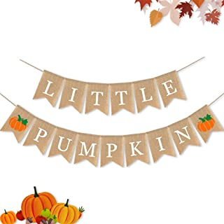 7-gost Burlap Little Pumpkin Banner Fall Autumn Baby Shower Party Birthday Garland Supplies